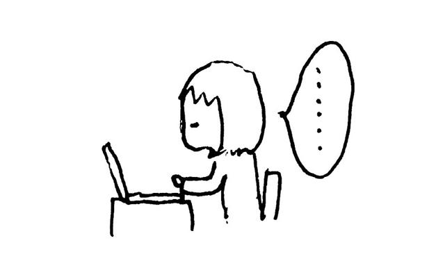 パソコンに向かうイラスト