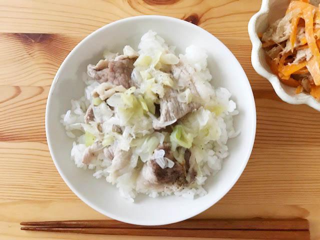 豚肉とネギ丼
