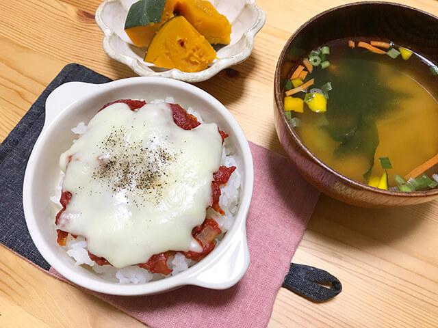 トマトチーズドリアの晩ごはん献立